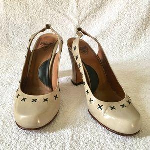 John Fluevog Patent Leather Slingback Heels